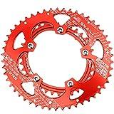 IIIL Plato Bicicleta Elipse Dientes Doble Disco 110BCD para Reparación Piezas Bicicleta Plegable Carreras Bicicletas,Rojo