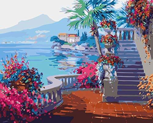 Maluj według numerów zestawy DIY obraz akrylowy 40 cm x 50 cm płótno dla dorosłych i dzieci z farbami, pędzle (bez ramy) - kroki