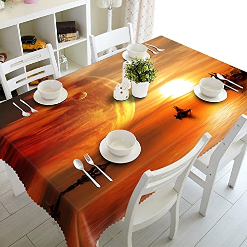 Bishilin Table Cover Rectangular, Waterproof Tablecloth Sunset Glow Pattern Polyester Orange 140 x 220 cm (55' x 86')