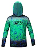 Performance Fishing Hoodie UPF 50 Sunblock Shirt Long Sleeve Quick-Dry Loose Fit Fade Pattern,Green,Large
