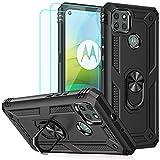 Funda para Moto G9 Power Case, Motorola G9 Power Case, con protectores de pantalla HD, anillo de metal de grado militar Androgate con función atril de 4,5 m a prueba de caídas a prueba de golpes para negro