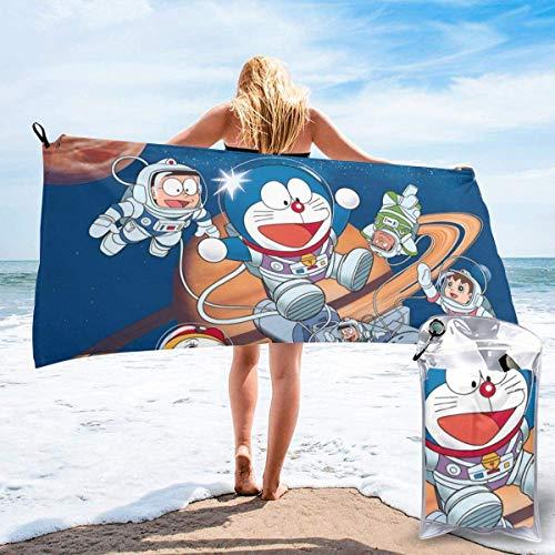 NBHJU Doraemon snabbtorkande badhandduk, mikrofiber fluffig strandhandduk, kan användas som yoga resa camping gym strand cykel handduk strandstol ull snabbtorkande handdukar 80 cm x 63