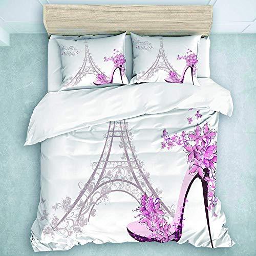 446 HBGDFNBV - Juego de ropa de cama de 3 piezas, diseño de flores de mariposa de la Torre Eiffel de París, color rosa