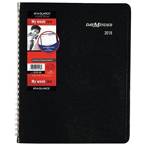 """AT-A-GLANCE DayMinder Weekly Planner, January 2018 - December 2018, 6-7/8"""" x 8-3/4"""", Block Style, Black (G53500)"""