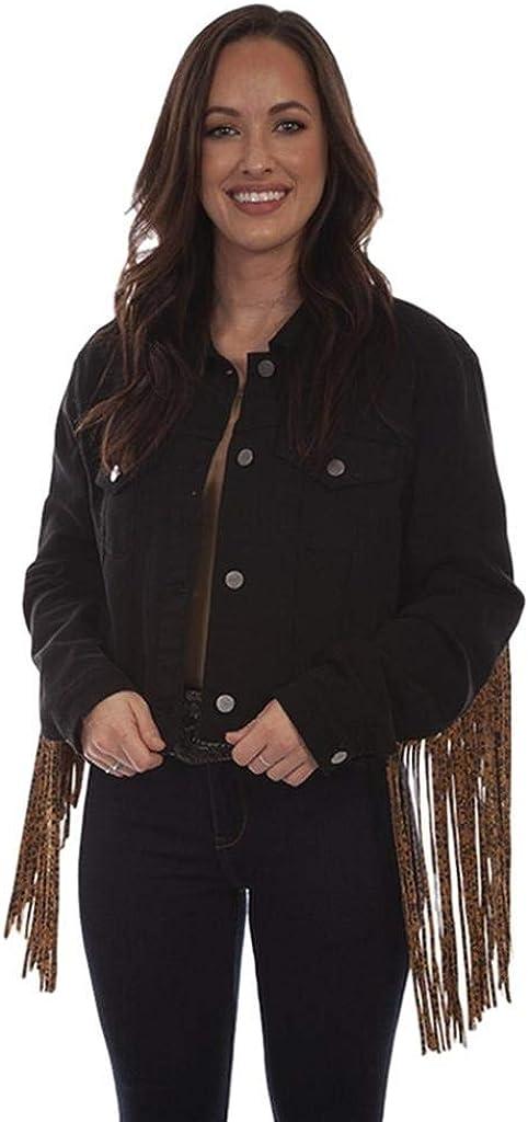 Scully Women's Honey Creek by Leopard Fringe Denim Jacket - Hc662