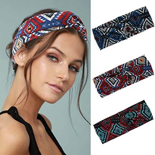 IYOU Boho-Stirnbänder, Yoga, Stretch, Schweißband, Sport, elastisch, Knoten, breit, schwarz, für Damen und Mädchen (3 Stück)