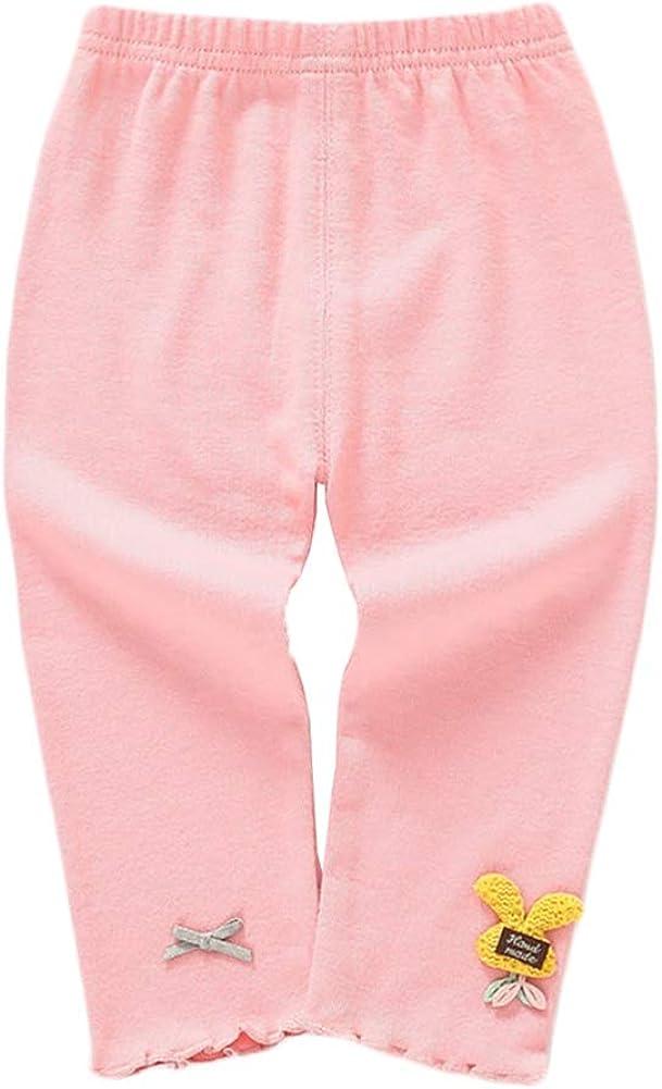 BOBORA Toddler Girls Solid Color Leggings Lion Flower/Bunny Pattern Warm Trousers