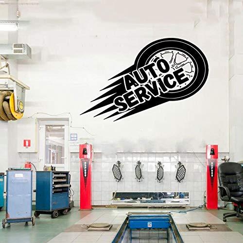 AQjept Calcomanía de Vinilo para Pared de Servicio de automóvil, llanta, reparación, Lavado de Autos, automóvil, Mural de Etiqueta de Ventana 65x42cm