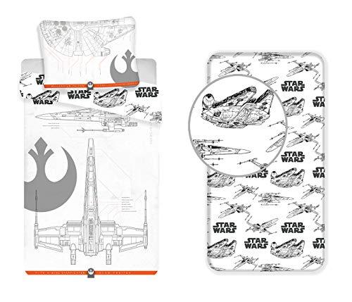 LesAccessoires Star Wars Juego de ropa de cama de 3 piezas, funda nórdica + funda de almohada + sábana bajera ajustable 100% algodón