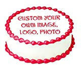 Create your own custom image, logo or photo, 7.5' round Edible Icing sheet Cake topper.