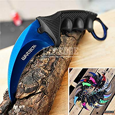 CSGO Karambit Advanced Tactical Knife Survival Knife Hunting Knife Fixed Blade Knife Razor Sharp Edge Camping Accessories Camping Gear Survival Kit Survival Gear 51763 (Blue Steel)
