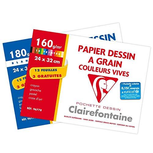 Clairefontaine 196178AMZC - Lot de 2 - Pochette Dessin Scolaire - 15 Feuilles (12+3 gratuites) Papier Dessin à Grain Couleurs Vives Assorties - 24x32 cm 160g - Idéal pour les Arts Plastiques