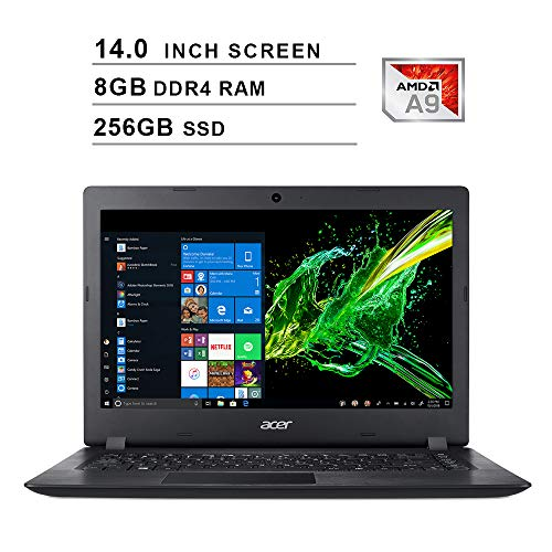 2020 Newest Acer Premium Aspire 3 14 Inch Laptop (AMD A9-9420e 1.8GHz up to 2.7GHz, 8GB DDR4 RAM, 256GB SSD, AMD Radeon R5, WiFi, Bluetooth, HDMI, Webcam, Windows 10 Home) (Black)