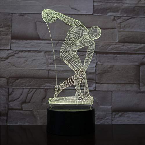 Discus Lanzamiento de lámpara de Mesa Cabeza Escultura Personaje Sensor táctil luz Decorativa luz de Noche para niños