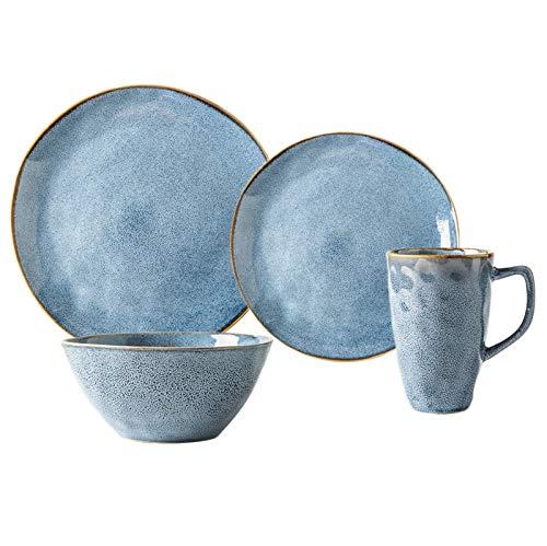 YLJYJ Platos de Cena de cermica, 26 Piezas Juego de combinacin de vajilla de Estilo nrdico Apto para microondas  Juegos de Platos y Cuencos de Porcelana