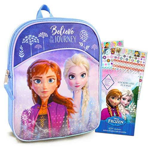 Frozen Backpack for Girls Bundle ~ Premium 11' Frozen Mini School Bag for Toddlers with Over 400 Stickers (Frozen School Supplies)
