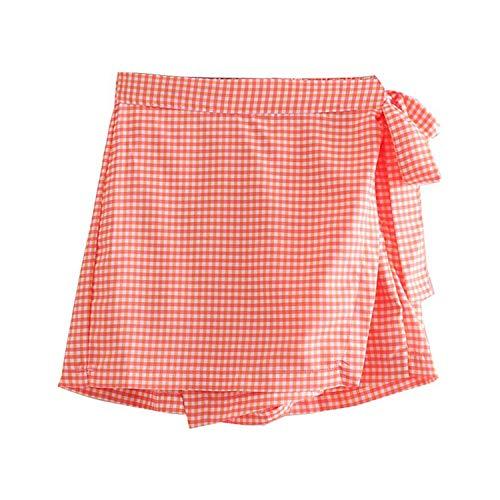 Mujeres Dulce Plaid Mini Falda Cintura Elástico Fajas Elegante Mujer Casual Una Línea Faldas