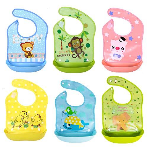 SLOSH 6 Baberos Impermeables Bebe Waterproof Niñas Niños Unisex Para Bebés de 6 Meses a 3 Años