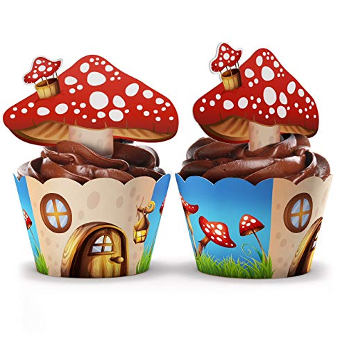 Magical Woodland Fairy Cupcake Wrappers and Toppers- 24 Sets - Perfect Woodland Party Supplies - Fairy Baby shower - Alice In Wonderland - Birthday Parties and Baby Shower (Woodland Toadstool)