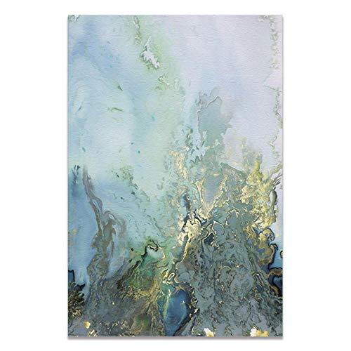 U/N Cuadro sobre Lienzo para Pared, Cuadros Abstractos, Carteles e Impresiones artísticos en Lienzo Azul y Blanco, decoración Moderna para Sala de Estar del hogar-10