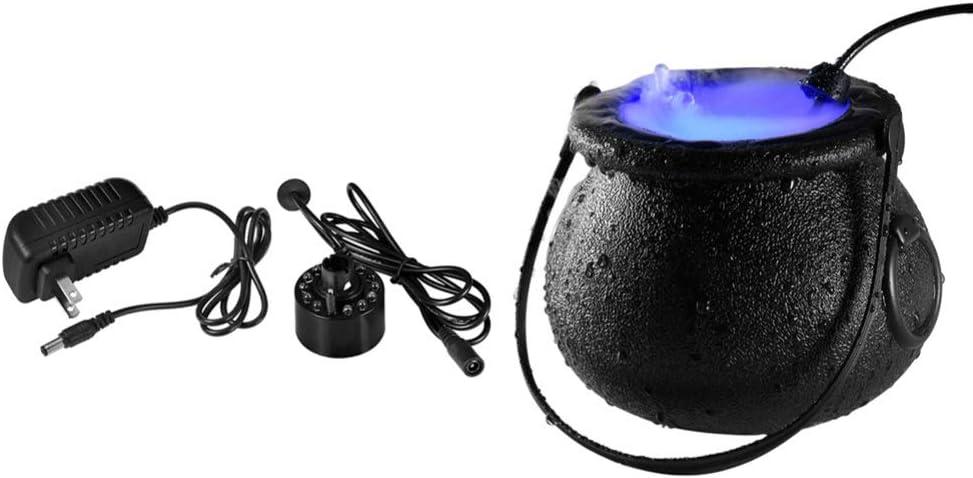 OSALADI Halloween Witch Cauldron Fog Maker Electric Lighted Caul