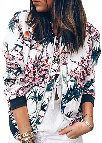 ECOWISH Bomberjacke für Damen, lässig, florales Design, mit Reißverschluss, Leopardenmuster, Stehkragen, leicht, Blau, EU M(38)