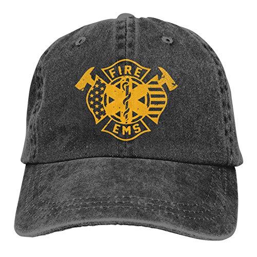 Lsjuee Fire EMS Gorra de Mezclilla Deportiva ajustableCasquettes Unisex PlainCowboy Hat Negro