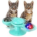 extsud giocattolo per gatti mulino a vento gioco interattivo gatto con palla a led e palla per catnip, giradischi con ventosa per pulizia dei denti di gatti, graffiare, iq miglioramento