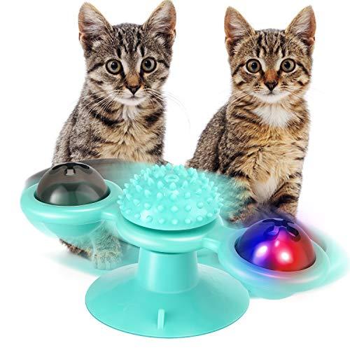 EXTSUD Windmühle Katzenspielzeug, Katzen Spielezeug mit Katzenminze und Glühender Ball LED Ball Cat Turntable Teasing Interaktives Katzenspielzeug mit Saugnapf