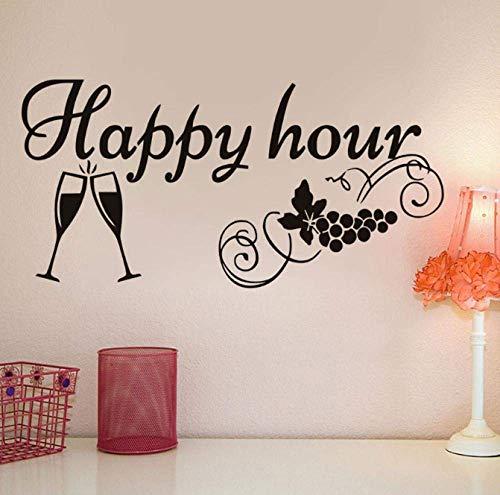 BHDSV Küchentafel Aufkleber Happy Hour Traube Weingläser Dekor Tafel Abnehmbare wasserdichte Vinyl Wandaufkleber 59 cm x 29 cm