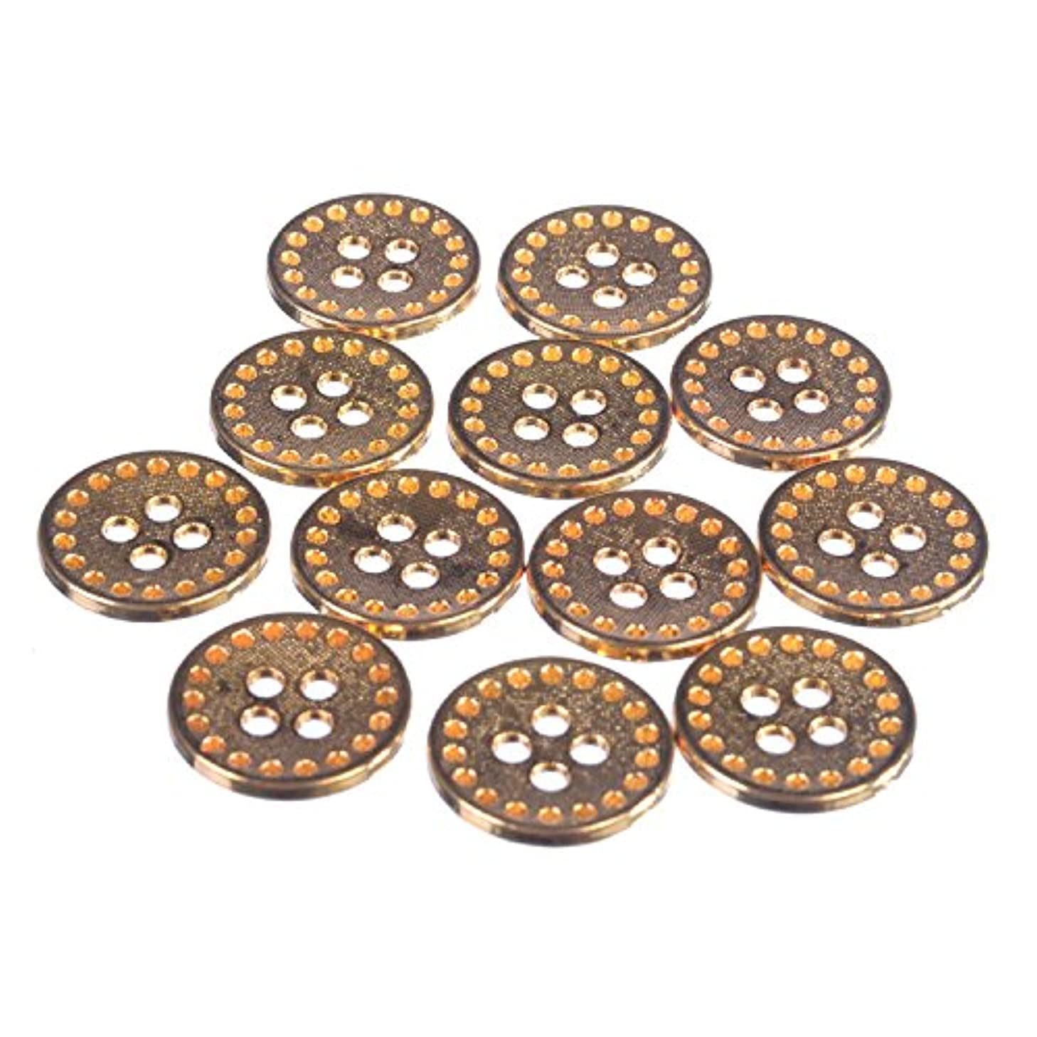 Zinc Diecasted Metal Button - 4 Hole - Dotted Texture with Perforated Edge - 24 Line - Gold