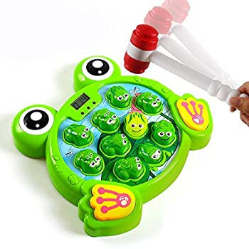 YEEBAY Interactive Whack A Frog Game Learning Active Early Developmental Toy Fun Gift for Age 3 4 5 6 7 8 Years Old Kids Boys Girls,2 Hammers Included
