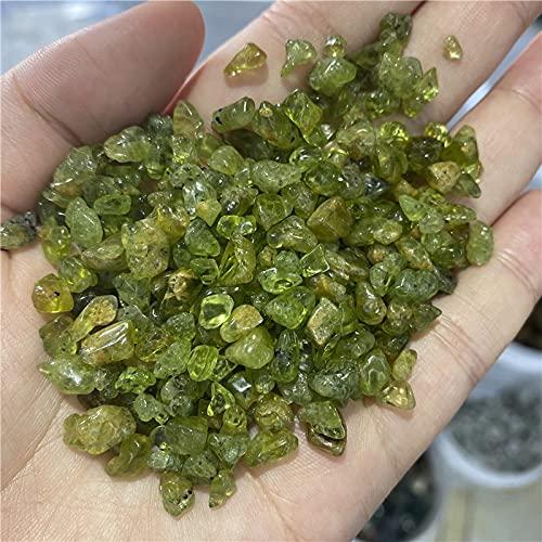 FIISH Peridoto Natural, Piedra de Cristal de Cuarzo, Chips de Roca, curación de la Suerte, Piedras Naturales,minerales, decoración de la Salud, mobiliario
