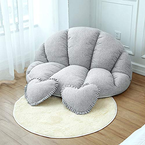 Wenzhihua Lounge Chair Lazy Floor SofaChair With 2 Pillows For Living, Bedroom Small Apartment 3 Colors Lounge Armchair Living Room Office Indoor (Color : Gray, Size : Free size)
