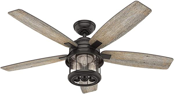 Hunter Indoor Outdoor Ceiling Fan With Light And Remote Control Coral 52 Inch Nobel Bronze 59420