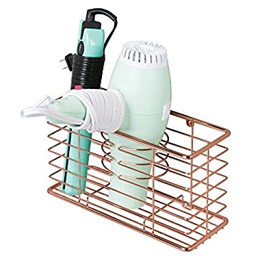 mDesign Bathroom Wall Mount Hair Care & Styling Tool Organizer Storage Basket for Hair Dryer, Flat Iron, Curling Wand, Hair Straighteners, Brushes - Durable Steel Wire in Rose Gold Finish