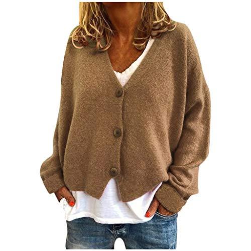 iHAZA Femmes Chemise à Boutons en V uni Manteau Cardigan en Tricot Extensible décontracté