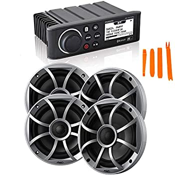 Fusion MS-RA70N Marine AM/FM/BT/NEMA2000 Stereo with 2 Pair Wet Sounds Recon 6-S High Output 6.5  Marine Coaxial Speakers Silver Grill