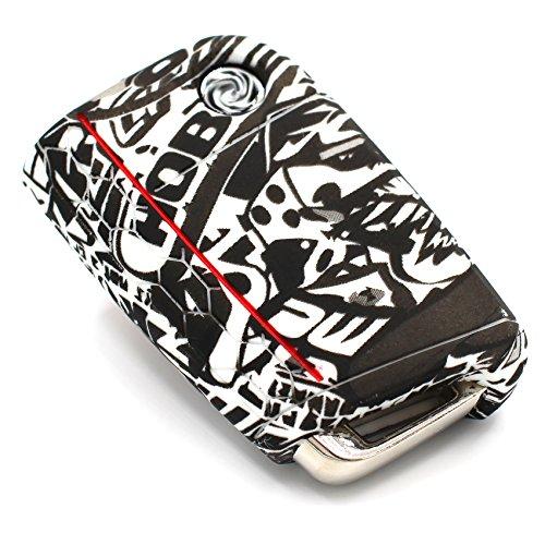 Llave Móvil VB para 3botones llave de coche silicona Cover–Finest de Folia Carcasa Funda para llaves .Stickerbomb Schwarz Weiß