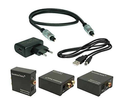 SunshineTronic Digital zu Analog Audio Konverter(DA3) + 1x 1,5m High End Digital Toslink Kabel + USB-Netzteil