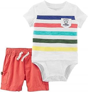 Carter's Baby Boy Official Bug Catcher Striped Bodysuit & Canvas Shorts Set Size Newborn