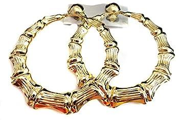 Clip-on Earrings Gold Bamboo Hoop Earrings 3 inch Hoops Non Pierced Ears Large