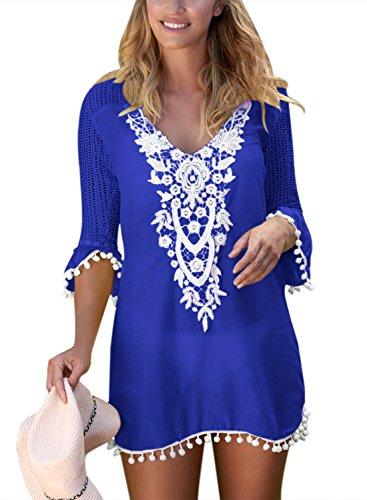 BLENCOT Women's Crochet Chiffon Tassel Swimsuit Bikini Pom Pom Trim Swimwear Beach Cover Up-Blue Medium