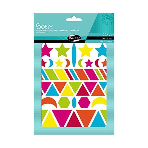 Maildor AE040O Baby Packung Stickers (mit 6 Bögen in Format DIN A5, 14, 8 x 21cm, ideal für Kinder ab 2 Jahren, geometrische Formen) 1 Pack