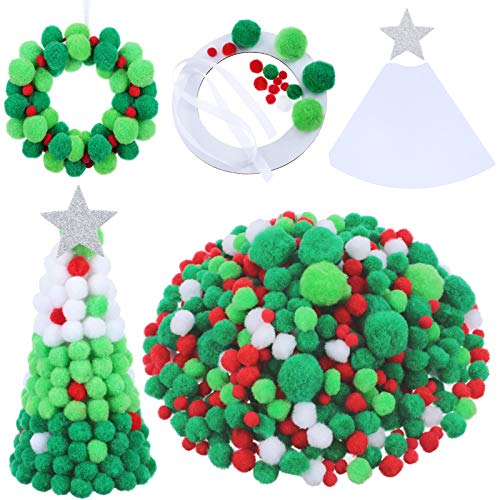 Pom Poms Balls Christmas Colorful Mini Pom Poms Balls Pom Poms Craft Wool Felt Balls in Red Green White Glitter Fluffy Balls for Valentine's Day Christmas DIY Supplies (About 85g)