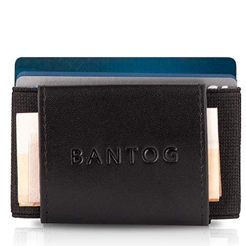 Bantog ® Der Premium Kreditkartenhalter mit Münzfach   GRATIS RFID Blocker Card   elegant, praktisch, ausgefallen   für Männer mit Stil   Kreditkarten, Bankkarten, Ausweise   (Schwarz)