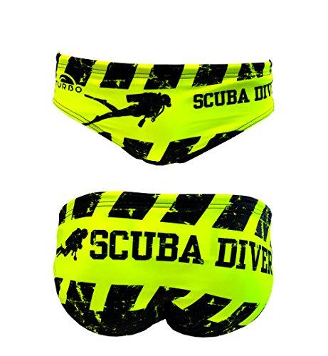 Turbo - Costume da bagno Slip Scuba Diver di Waterpolo competizione nuoto e triathlon modello di vestibilità comoda. Nero L