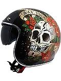 MT Casco Abierto Moto 2019 Le Mans Skull And Roses Negro-Rojo (Xl, Negro)