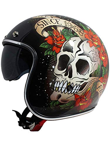 Casco Abierto Moto Mt 2019 Le Mans Skull And Roses Negro-Rojo (L , Negro)