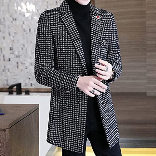 JJWC Plaid Men Blazers Chaquetas De Lana De Invierno Estilo Británico Traje Largo Informal Abrigo Streetwear (Color : C, Size : Xl)